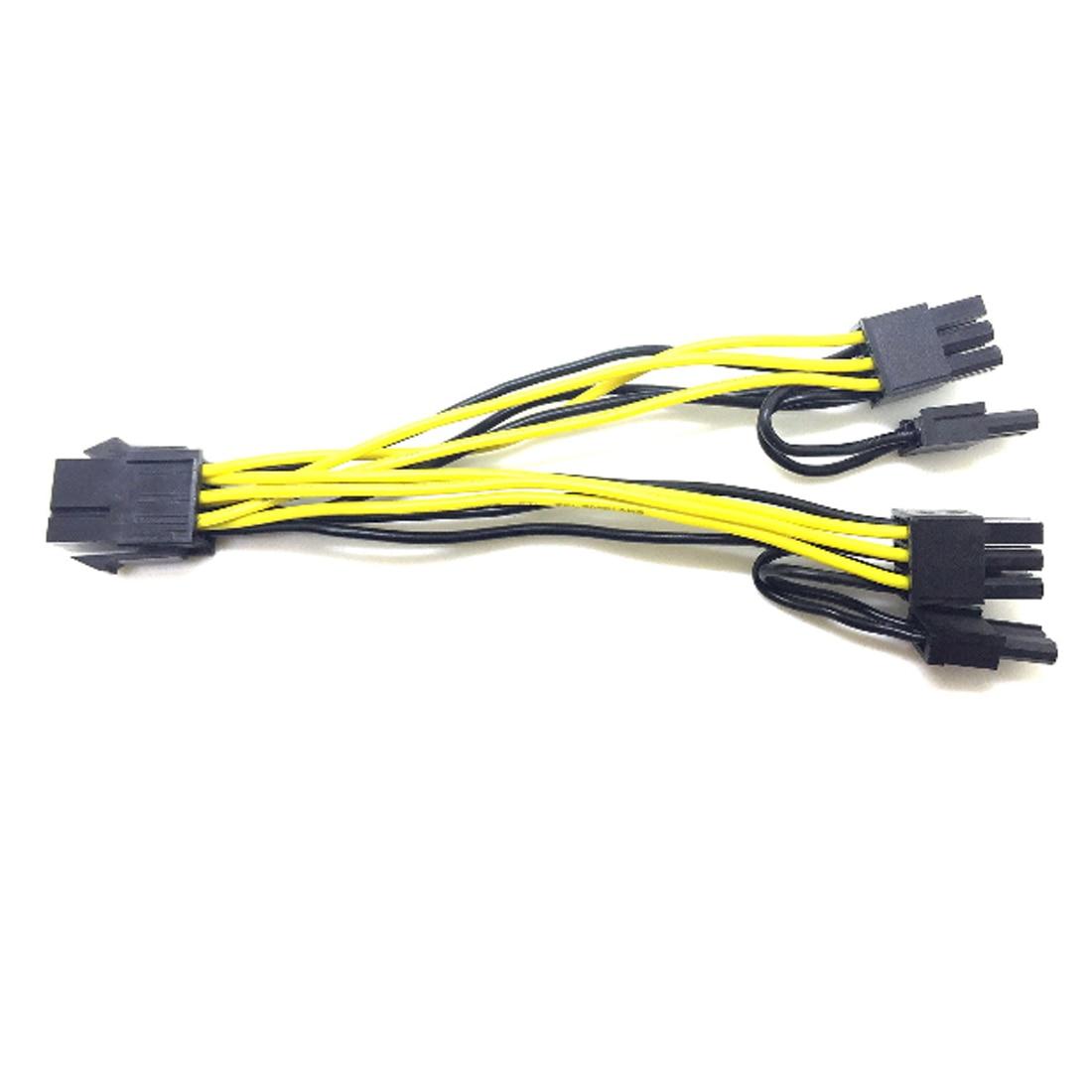 Marsnaska 6-pin PCI Express to 2 x PCIe 8 (6+2) pin Motherboard Graphics Video Card PCI-e GPU VGA Splitter Hub Power Cable graphics connection power supply cable cpu molex 8pin to 2 pci e 8 6 2 pin graphics card connector internal cable power splitter