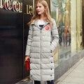 Quintina 2017 Новые Моды для Женщин Вниз Пальто С Капюшоном Тонкий Зимнее Пальто женщин Длинные Пальто Женщин Вниз Куртки Куртка