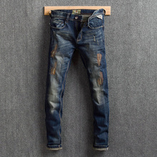 Fashion Streetwear Men Jeans Dark Blue Embroidery Patchwork Designer Ripped Jeans Men Distressed Pants Slim Fit Hip Hop Jeans
