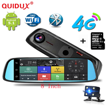 QUIDUX 8″ 4G Touch Special Car DVR Camera Mirror GPS Bluetooth 16GB Android 5.1 Dual Lens Video Recorder Dash Cam Free 32GB card