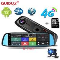 Quidux 8 4 г Touch специальный Видеорегистраторы для автомобилей Камера зеркало GPS Bluetooth 16 ГБ Android 5.1 Двойной объектив видео Регистраторы тире cam Бе