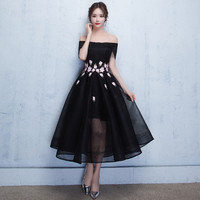 Mingli Tengda Black Bridesmaid Dress Appliques Boat Neck Dress for Wedding Party Off the Shoulder Dress robe demoiselle d'honneu