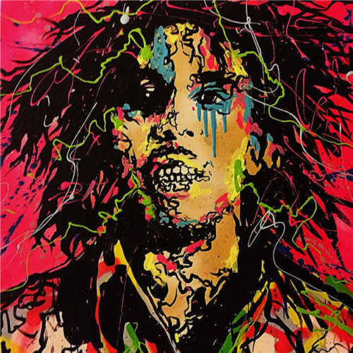 100% fait à la main Alec monopole peinture à l'huile sur toile Graffiti art mur décor Bob Marley 28x28