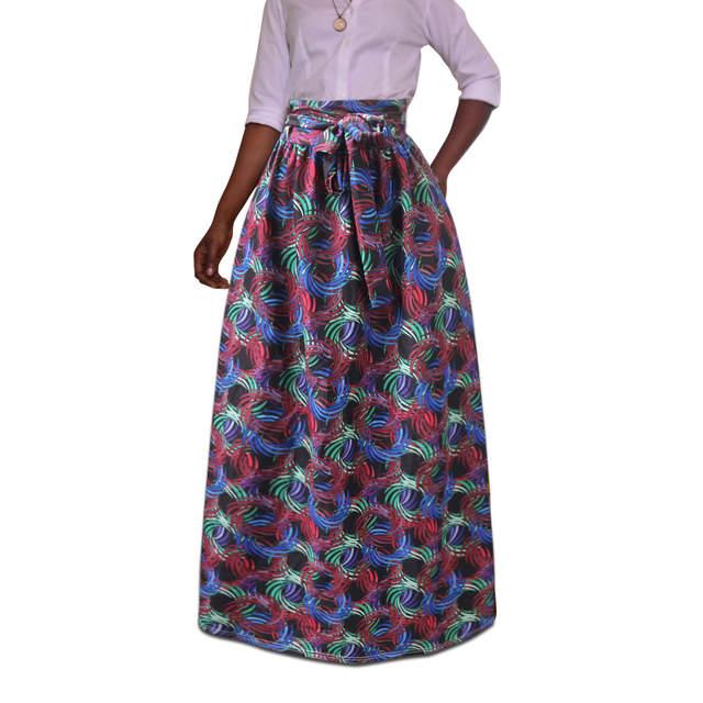 be55b778e4c3c Plus Size Africa Clothes 5XL Indonesia Ankara Indian African Pattern Print  Women Summer Autumn Skirt Fashion Bandage Long Skirts