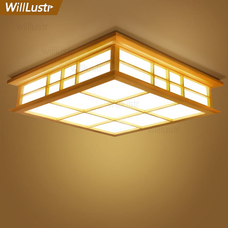Willlustr wooden light Japan style LED wood ceiling lamp hotel home dinning room bedroom restaurant acrylic panel ceiling light