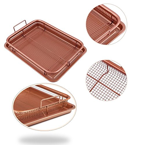 Crisper Fry Basket Nonstick Copper Tray Works As Air Fryer Crispy Healthy Biscuit Pan Maker Multi-Purpose Cooking Tools