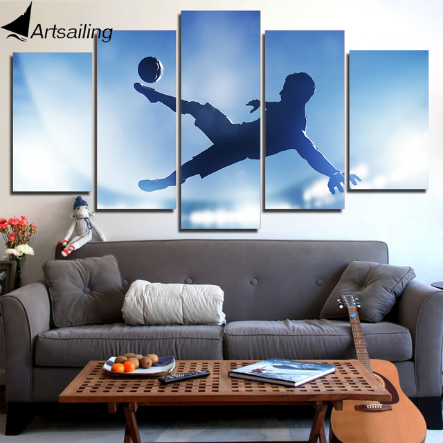 HD Printed 5 Piece Canvas Art Soccer Sports Large Canvas Wall Art Painting  Wall Pictures For
