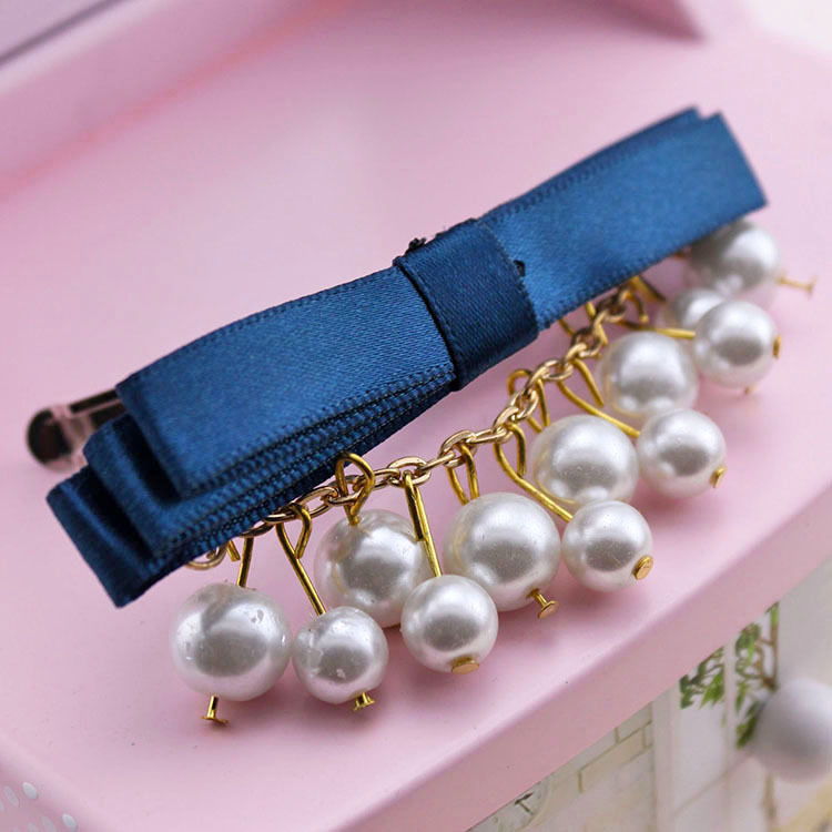 South Korea's hair Pearls pendant bowknot hairpin clip, free home delivery han edition hair pearl four petals small clip hairpin edge clip a word free home delivery