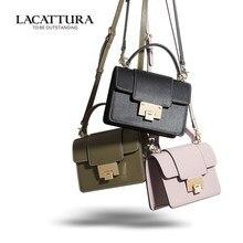 New Arrival Fashion Style LACATTURA Women's Oblique Satchel Female Small Handbag Shoulder Cowhide leather Messenger Mini Flap