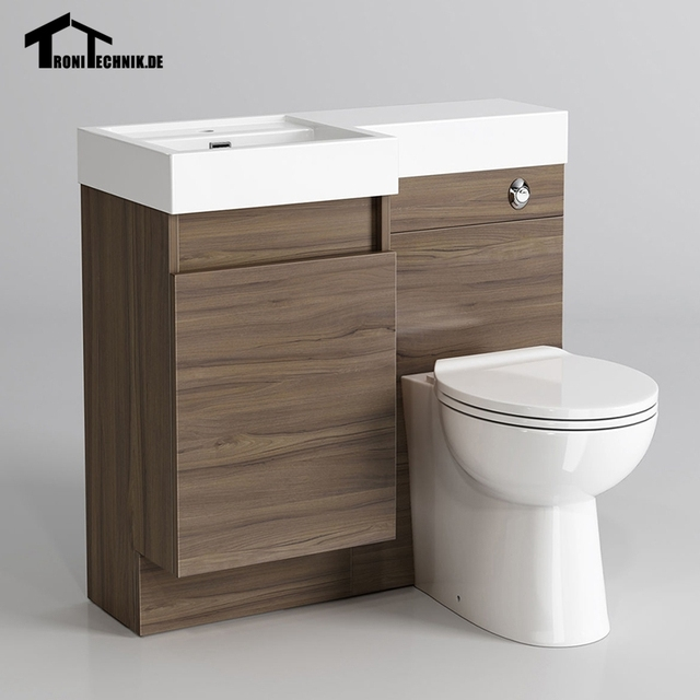 906mm Bathroom Walnut Vanity Unit Countertop Basin Back To Wall Toilet Modern Uk Shipping