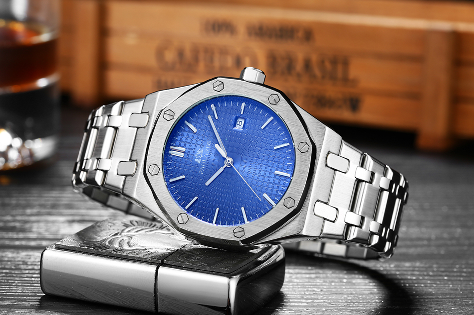 Men Automatic Self Wind Mechanical Stainless Steel Strap Simple Business Blue Rose Gold Yellow Gold Date Men Automatic Self Wind Mechanical Stainless Steel Strap Simple Business Blue Rose Gold Yellow Gold Date Watch