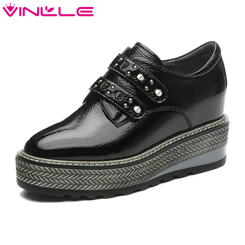 VINLLE 2018 Women Pumps Round Toe Genuine Leather Hook&Loop Wedge High Heel Black Rivet Ladies Wedding Shoes Size 34-42 nayiduyun women genuine leather wedge high heel pumps platform creepers round toe slip on casual shoes boots wedge sneakers