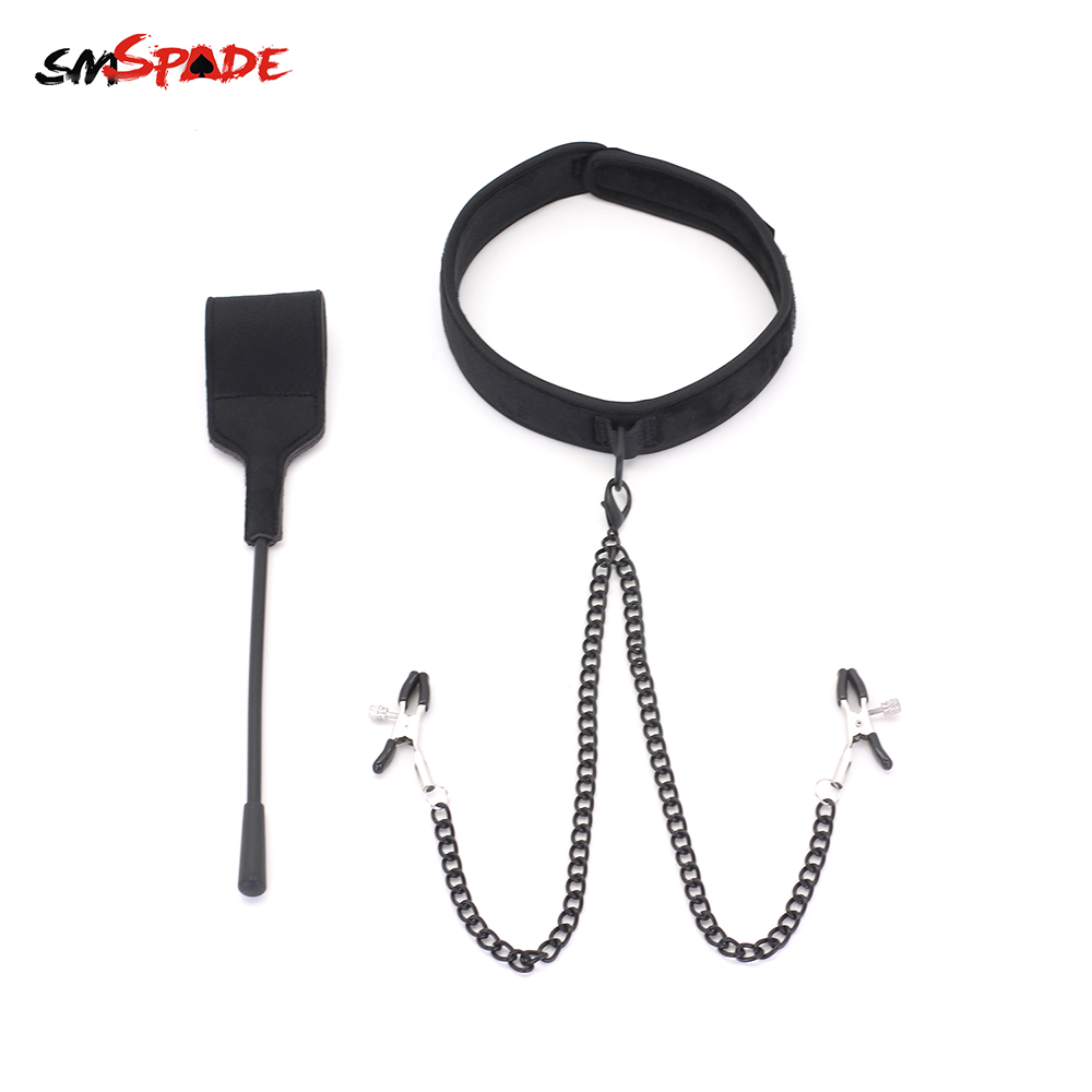 Smspade Sexy Toys for Women Slave Collar with Nipple Whip bdsm Restraints Neck Cuff Spanking Flogger Spanking Paddle Adult Toys