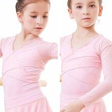 dance wear girls crop tops mesh warm up ballet wrap for kids long sleeve
