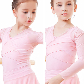 dance wear girls dance crop tops mesh warm up ballet wrap tops for kids mesh long sleeve ballet tops tops