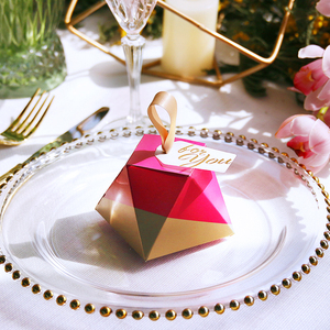 Image 5 - New Rose Red Diamond Shape Candy Box Wedding Favors and Gifts Box Party Supplies Paper Gift Chocolate Boxes Packages