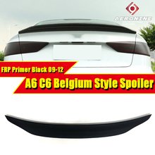 цена на Fit For Audi A6 Spoiler Tail C6 Belgium Type FRP Unpainted rear spoiler trunk Lid Boot Lip wing car styling Decoration 2009-12