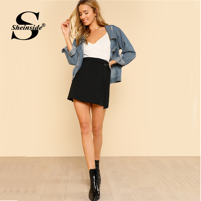 Sheinside Black O-Ring Belt Detail Skirt Solid Mid Waist Sheath Zipper Skirt 2018 Spring Women Office Ladies Work Skirt