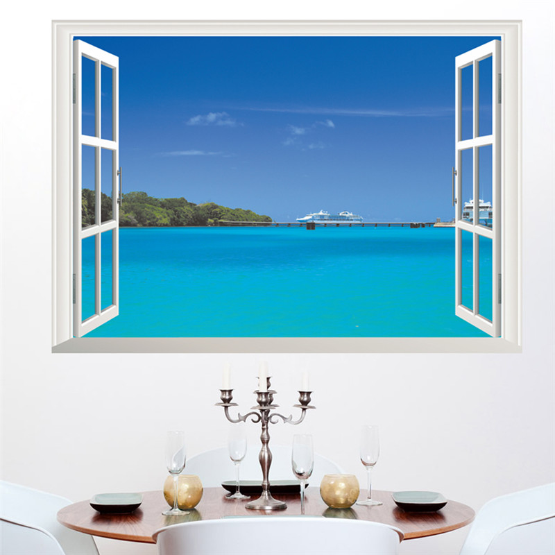 Ocean Sea Boat View Wall Stickers Home Decor Accessories Living Room Bedroom 3D Window Landscape Decals Mural PVC Poster