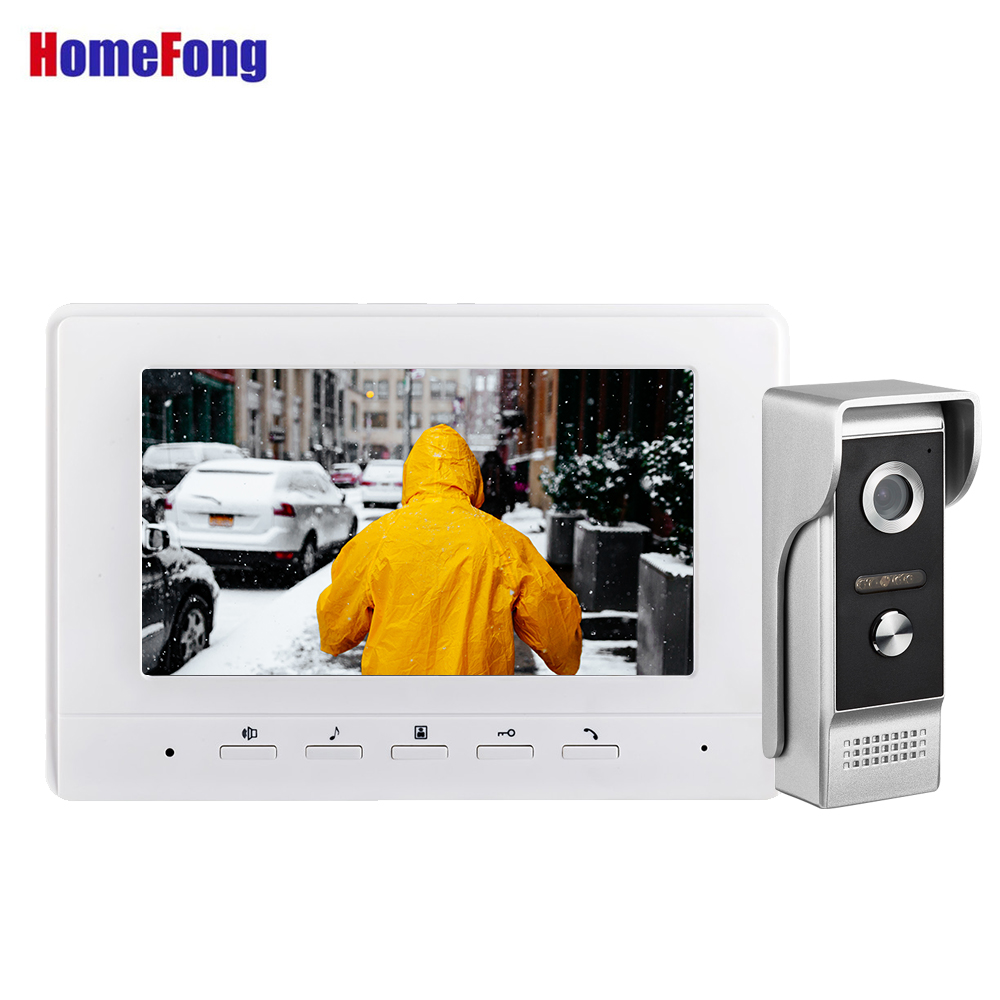 Homefong White Video Door Phone Intercom System  7 Inch Wired Doorbell Camera IR Leds HD Ring Camera Dual Way Talk Unlock