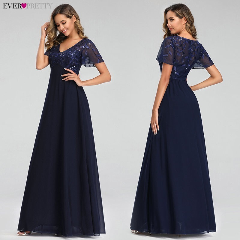 Image 4 - Evening Dresses Long Ever Pretty EZ07706 Elegant Navy Blue A line Short Sleeve Chiffon Lace Embroidery Party Gowns for Wedding-in Evening Dresses from Weddings & Events