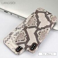 wangcangli For iPhone 5 case Luxury handmade genuine leather python skin back case