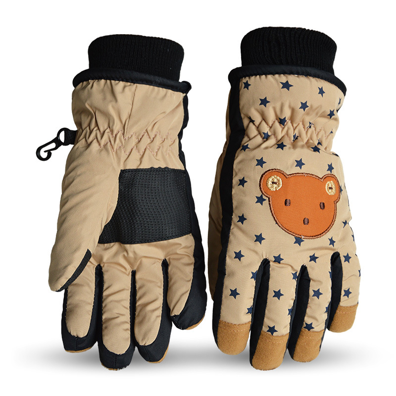 Cute Skiing Gloves Boys and Girls Winter Snow Children Finger Skiing Warm and Waterproof Gloves Warm and Thicker