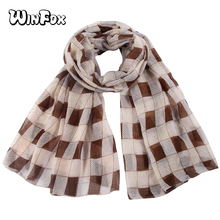 Winfox Spring Autumn Tartan Pink Black Viscose Oversized Chiffon Plaid Scarf Shawl Women Ladies Soft Scarves Foulard Femme sjaal