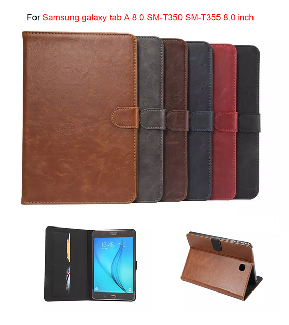 Luxury PU Leather Smart case for samsung galaxy tab A 8.0 SM-T350 SM-T355 SM-P350 P355 8'' tablet cover with card solts +pen