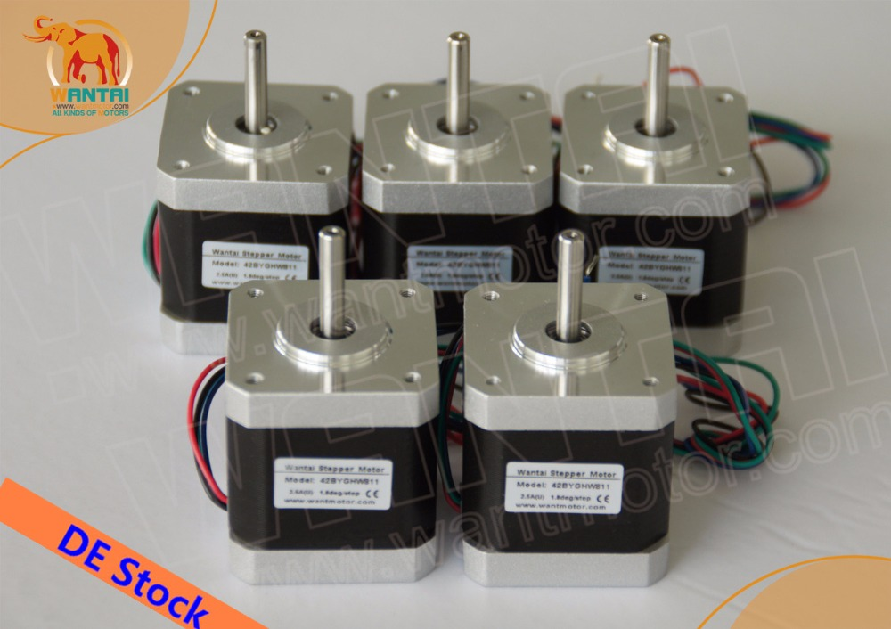 [EU FREE& DE stock]Wantai 5PCS Nema 17 Stepper Motor 42BYGHW811(Single flat shaft) 4800g.cm 2.5A CE ISO ROHS Reprap 3D printer[EU FREE& DE stock]Wantai 5PCS Nema 17 Stepper Motor 42BYGHW811(Single flat shaft) 4800g.cm 2.5A CE ISO ROHS Reprap 3D printer