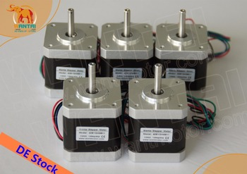цена на [EU FREE& DE stock]Wantai 5PCS Nema 17 Stepper Motor 42BYGHW811(Single flat shaft) 4800g.cm 2.5A CE ISO ROHS Reprap 3D printer