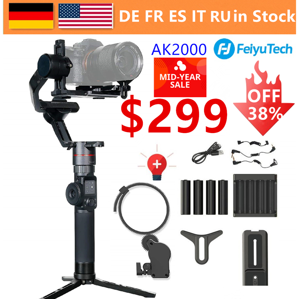FeiyuTech AK2000 3-Axis Camera Handheld Gimbal Stabilizer MaxLoad 2.8KG for Nikon D850 Sony A9 A7III A7S A7R Canon 5DIII 5DSR