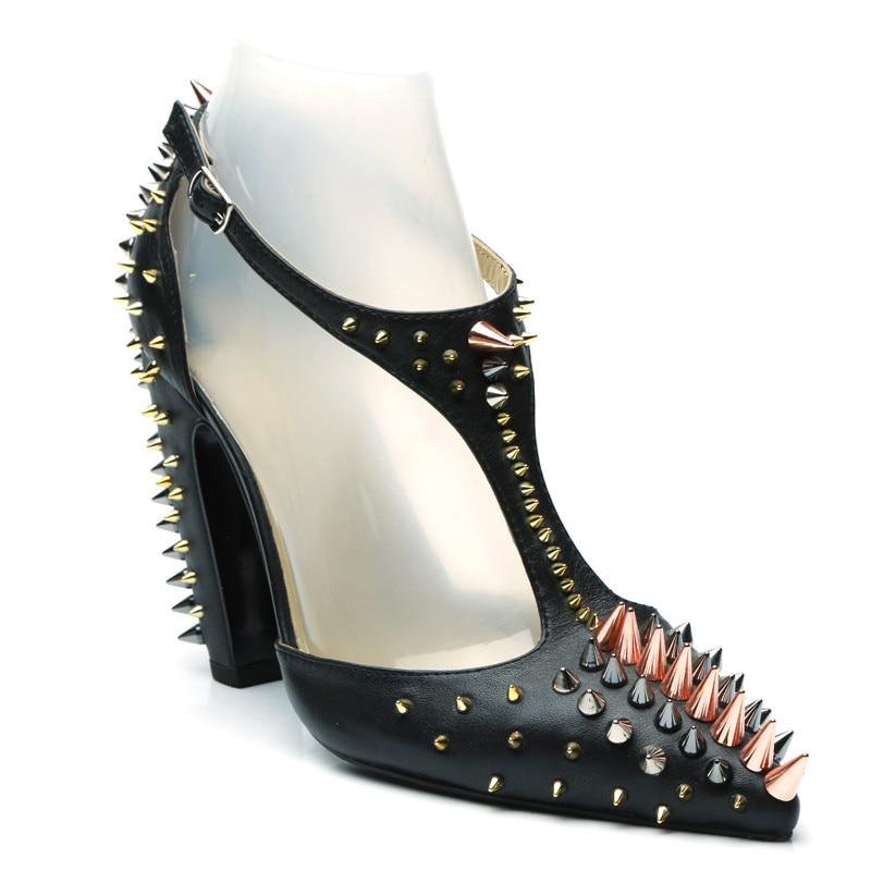 T Verzierte Beige Ferse schwarzes Schuhe Chunky Party Pumpen Sandalen Sapato Sexy strap Kleid Frauen Spitz Runway Feminino Spikes Fashion FYT8EE