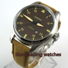 лучшая цена 47mm parnis coffee dial big crown date 21 jewel miyota 8215 automatic mens watch