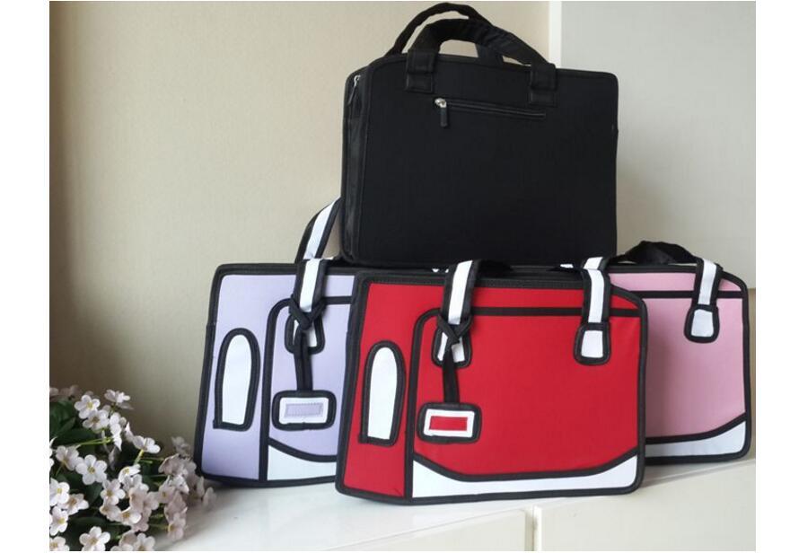 New 2D Shoulder&HandBags Novelty Back To School Bag 3D Drawing Cartoon Comic Carrier Lady Shoulder Bag Students Messenger Gifts