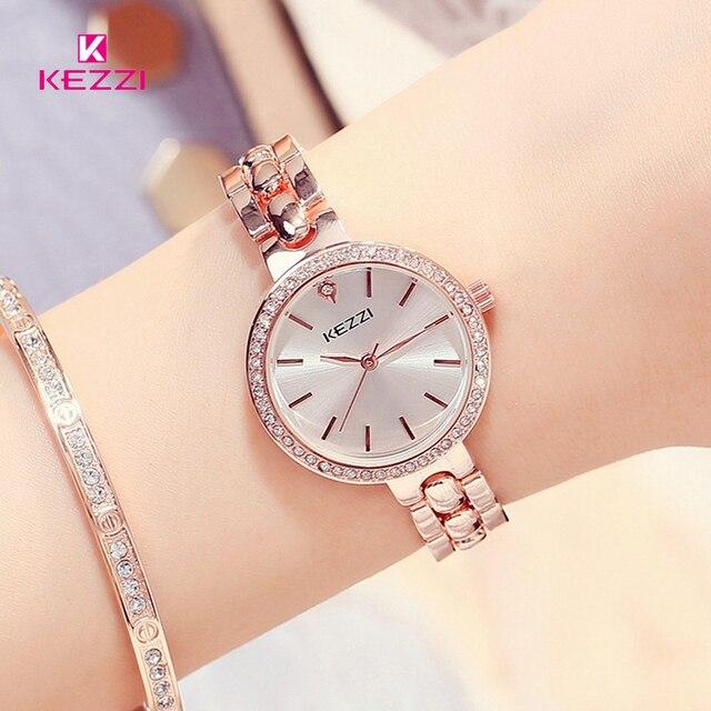 Kezzi Brand Quartz Watch Fine Rhinestone Bracelet Watch Luxury Full Stainless St
