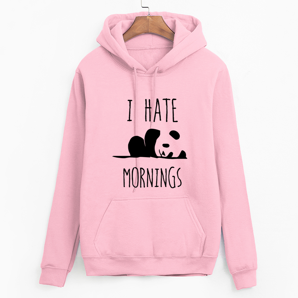 2019 Moleton Feminino Fleece Hoodies Brand Tracksuis Fashion Women Long Sleeve Hoodies Panda I HATE MORNINGS Sweatshirt  Female