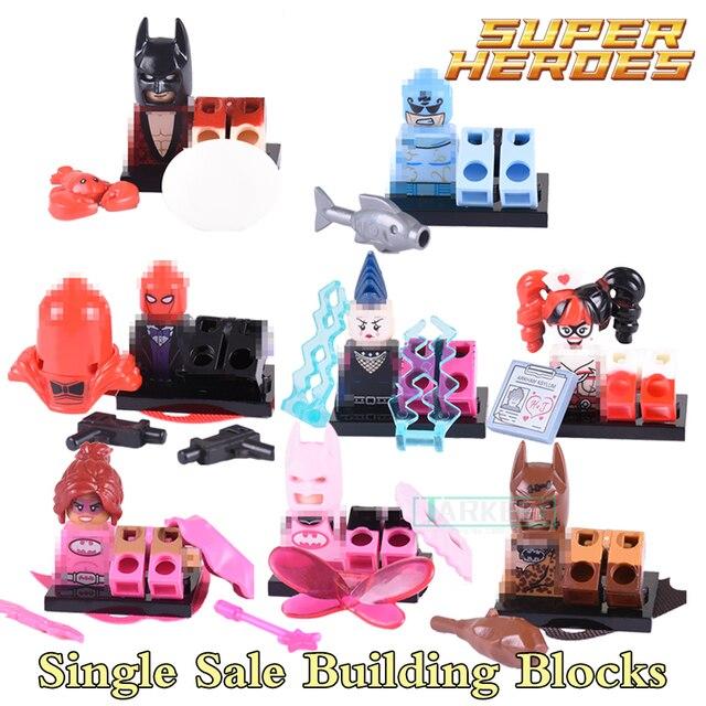 Building Blocks Super Heroes Pink Power Batgirl Red Hood Clan of the Cave Fairy Batman Mime Nurse Harley Quinn Kids Toys PG8040
