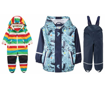 (charged onesies) + PU waterproof suit, children's suit + children's jumpsuit, packaged for sale Russian children's wear