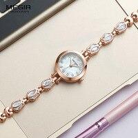 Megir Fashion Ladies Quartz Watches with Brass Bracelete Strap Girls Simple Fashion Waterproof Analogue Wristwatch for Women