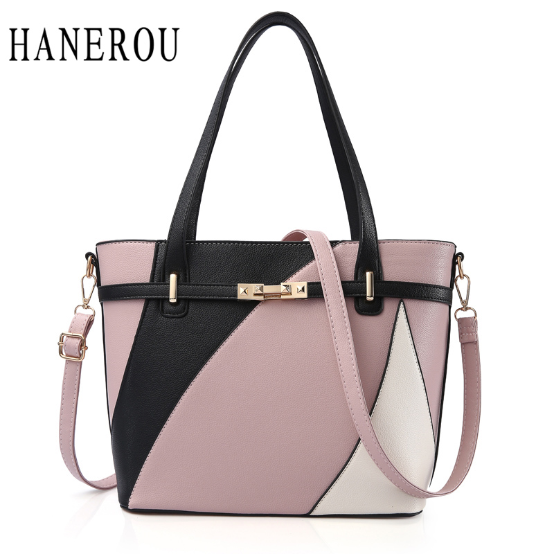 Big Patchwork Bag Women Shoulder Bags Handbags Women Famous Brands Luxury Lock Crossbody Bags For Women 2018 Fashion Sac A Main fashion patchwork trapeze bags handbags women famous brands women crossbody bag smile face ladies hand bags new big capacity sac