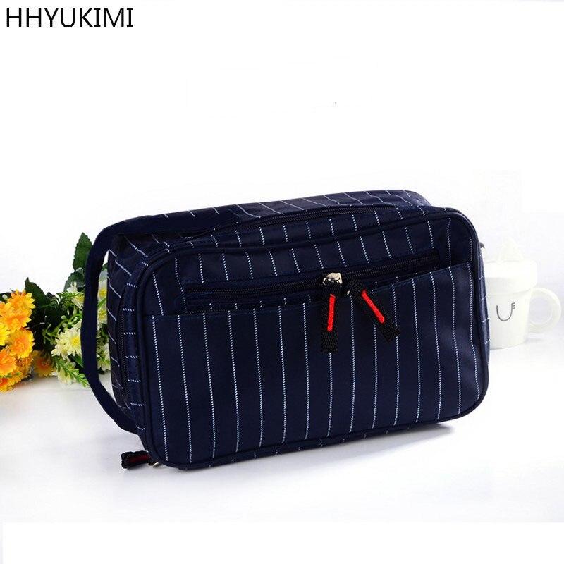 HHYUKIMI Nylon Waterproof Men For Women Cosmetic Bag Handbag Travel Portable Make Up Bag Beauticians Cosmetics Organizer Washbag