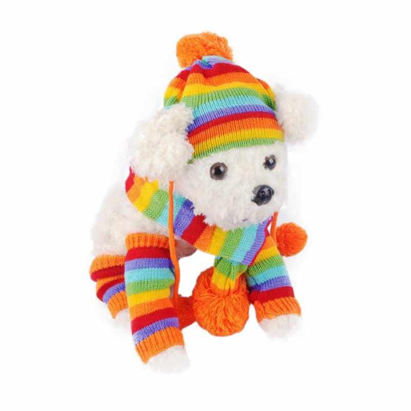 Musim Dingin Hangat 3 Pcs/set Anjing Topi Rajutan Bergaris Topi Syal Kaus Kaki Anak Anjing Peliharaan Fashion Ornamen Topi untuk Anjing