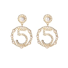 New Fashion Women Jewelry Simple Simulated Pearl Number 5 Big Circle Earrings No.5 Dangle Earring Drop