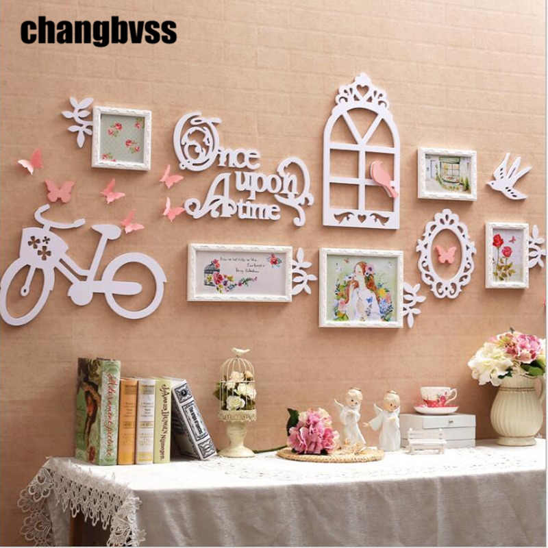 Korean Style Photo Frame Combination Set 5Pcs/set Wall Hanging Wood Photo Frame Wall Picture Album For Wedding Family Picture