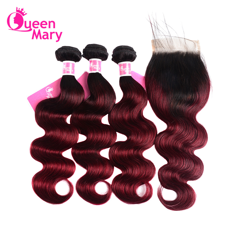 Ombre Brazilian Body Wave 3 Bundles With Closure 1B/Burgundy Ombre Human Hair Bundles With Closure Queen Mary NonRemy Hair Weave