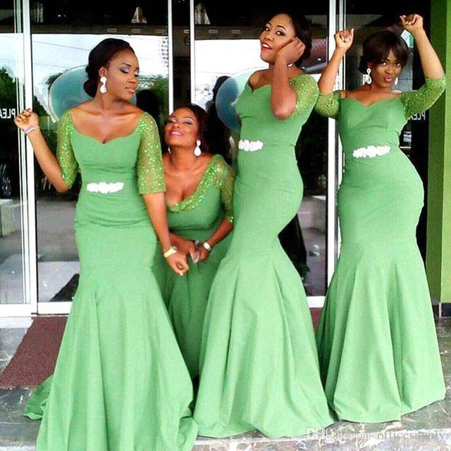 2017 Beautiful Green Mermaid Bridesmaid Dresses Arabic African Lace Long Sleeves Beaded Sash Dress Formal