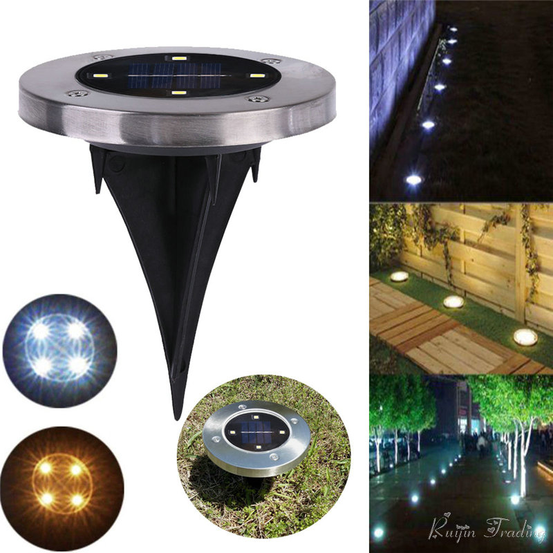 Outdoor Solar Lights In Ground: 4 LED Solar Light Outdoor Ground Water Resistant Path
