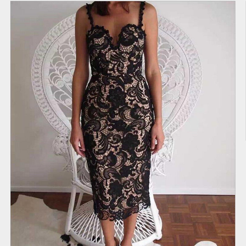 Women Hot Sexy Lace Dress Club Party Spaghetti Strap Low-Cut Bra Dress Women's Floral Crochet Lace Bodycon Midi Dresses LYQ657-S