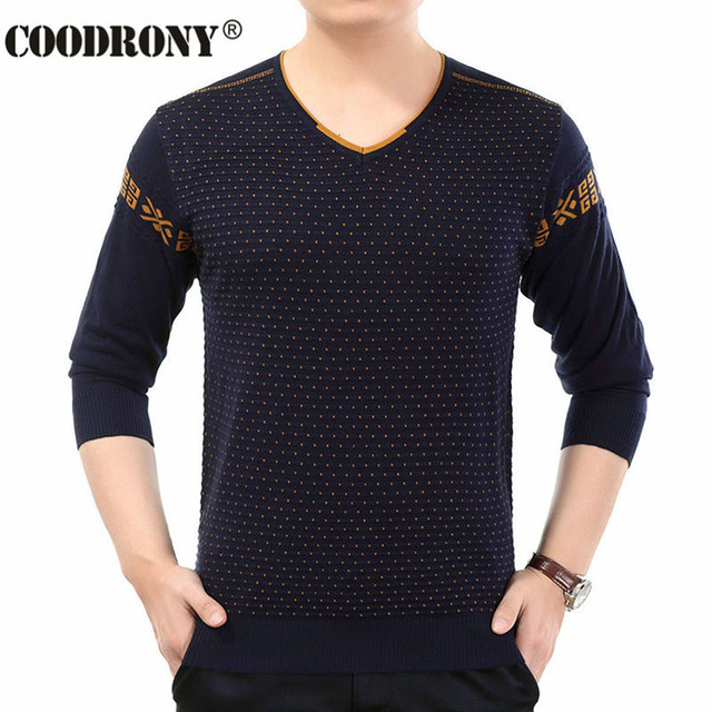 High Quality Autumn Winter New Warm Cashmere Sweater Men Knitted Wool Pullover Men Fashion Dot Pattern Christmas Pull Male 66148
